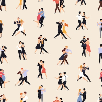 Seamless pattern with people dancing argentine tango