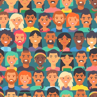 Seamless pattern with people of different races and nationalities