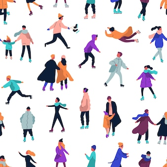 Seamless pattern with people dressed in winter clothes ice skating on rink
