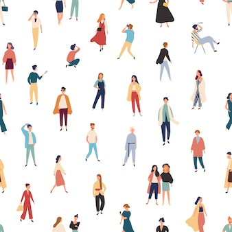 Seamless pattern with people in fashionable outfits walking, standing, posing.