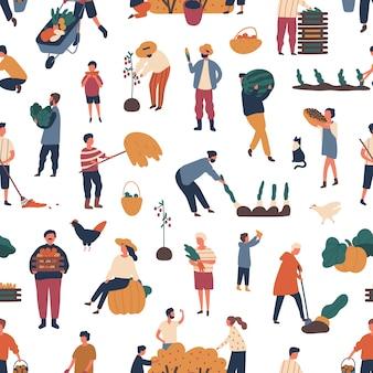 秋に作物を集める人々とのシームレスなパターン。