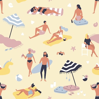 Seamless pattern with people relaxing on sand beach and sunbathing. backdrop with men and women on vacation at seashore or summer resort. flat illustration for wrapping paper, wallpaper.