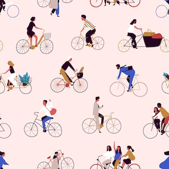 Seamless pattern with people riding bikes or bicyclists