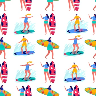 Seamless pattern with people surfing in beachwear with surfboards. young women amd men enjoying vacation on the sea, ocean. summer sports and leisure outdoor activities. flat vector