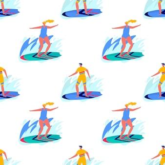 서핑 보드와 함께 비치웨어에서 서핑하는 사람들과 함께 완벽 한 패턴입니다. 바다, 바다에서 휴가를 즐기는 젊은 여성과 남성. 여름 스포츠 및 레저 야외 활동. 평면 벡터