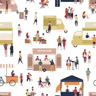 Seamless pattern with people walking among vans and kiosks