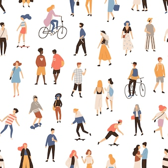 Бесшовный фон с людьми, идущими по улице, езда на велосипеде или скейтборде. фон с мужчинами, женщинами и детьми, выполняющих мероприятия на свежем воздухе. плоский мультфильм иллюстрации для текстильной печати.