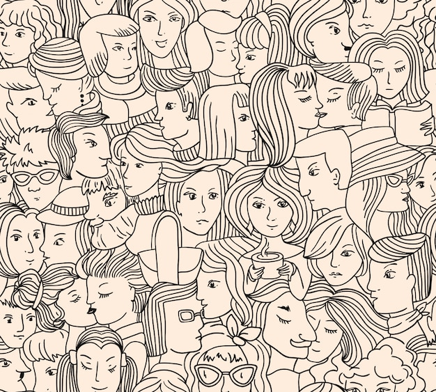 Seamless pattern with people