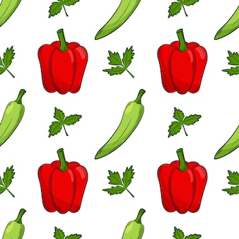 Seamless pattern with peppers and parsley.color elements in the linear style