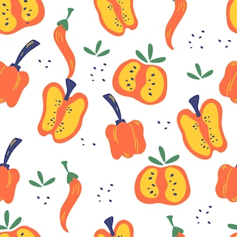Бесшовный фон с перцем. красный, перец ломтики, перец чили и фон болгарский перец. вегетарианская здоровая пища. яркий принт для дизайна меню или еды. векторные иллюстрации в мультяшном стиле