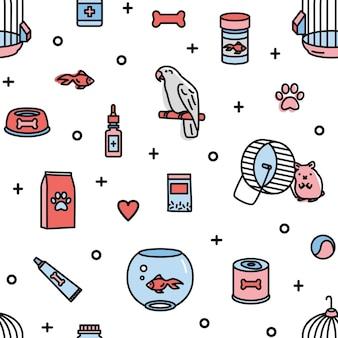 Бесшовный фон с продуктами зоомагазина и забавными домашними животными на белом