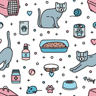 Seamless pattern with pet shop products for cats home keeping on white