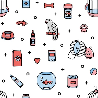 Seamless pattern with pet shop products and funny domestic animals on white