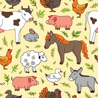 Seamless pattern with pets