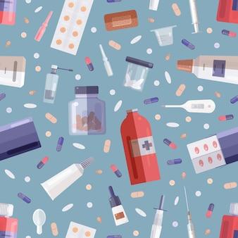 Бесшовный фон с фармацевтическими препаратами или лекарствами в бутылках, банках, тубах, блистерах и медицинских инструментах