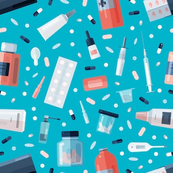 Seamless pattern with pharmacy drugs or medications in bottles, jars, tubes, blisters and medical tools on blue