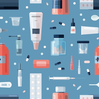 Seamless pattern with pharmacy medications in bottles, ampoules, jars, tubes, blisters and medical tools on blue background. remedy, cure, treatment backdrop. flat cartoon vector illustration.