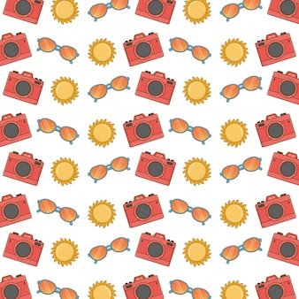Seamless pattern with photo camera, sunglasses and sun