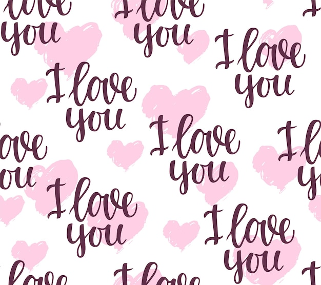 Seamless pattern with the phrase i love you and hearts on a white background. vector background.