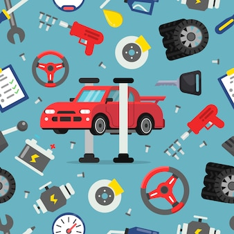 Seamless pattern with pictures of auto spare parts