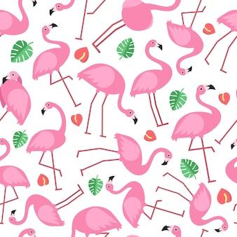 ピンクのフラミンゴと熱帯の花の写真とのシームレスなパターン。エキゾチックな熱帯の鳥、アートワークの背景。