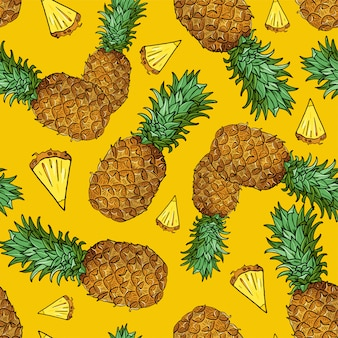 Seamless pattern with piece of tropical fruits on yellow
