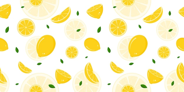 Seamless pattern with pieces of lemon premium vector