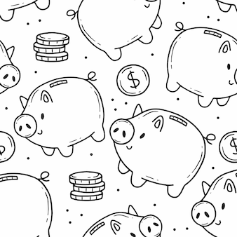 Seamless pattern with piggy bank and coins in simple cartoon doodle style