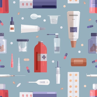 Seamless pattern with pills, drugs, medications in bottles, jars, tubes, syringe and other medical tools on grey background.