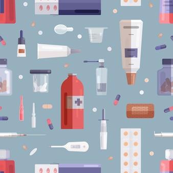 Бесшовный фон с таблетки, лекарства, лекарства в бутылках, банки, трубки, шприц и другие медицинские инструменты на сером фоне.