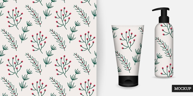Seamless pattern with pine spruce branches and mockup