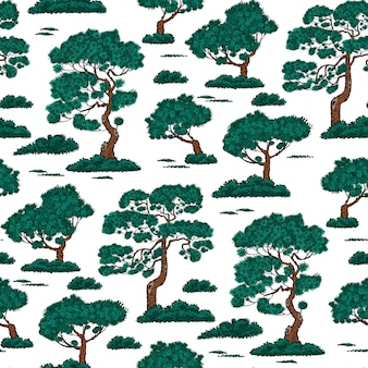 Seamless pattern with pine tree