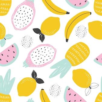 白い背景の上のパイナップルレモンバナナフルーツとのシームレスなパターンベクトル図