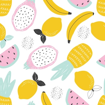 Seamless pattern with pineapple lemon banana fruits on a white background vector illustration