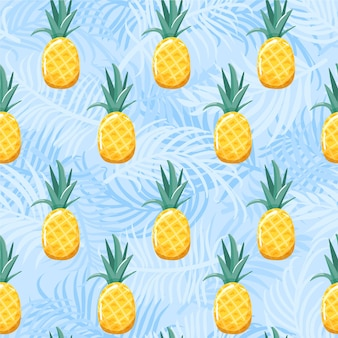 Seamless pattern with pineapple and palm leaves. summer vibes.