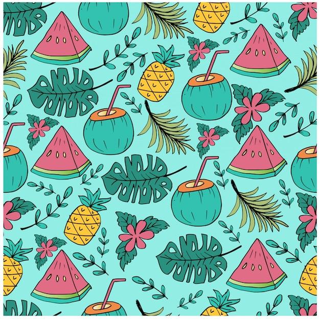 パイナップル、スイカ、ココナッツのスライスとのシームレスなパターン。
