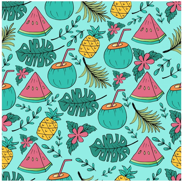 Seamless pattern with pineapple, watermelon and coconut slice.