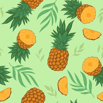 Бесшовный фон с ананасами и листьями