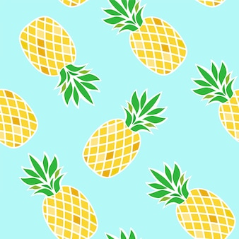 Seamless pattern with pineapples on blue background.