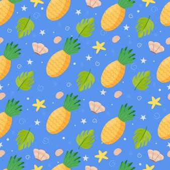 パイナップルとのシームレスなパターン生地、紙、壁紙、パッケージに印刷するためのかわいい背景。夏の商品。ベクトルイラスト、漫画フラット