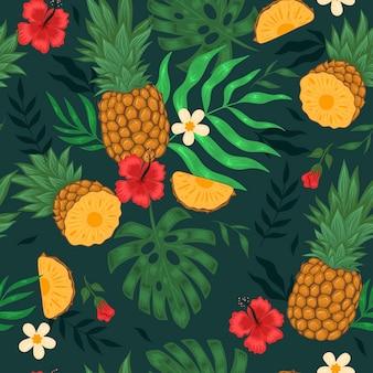 Бесшовный фон с ананасами, цветами и листьями. векторная графика.