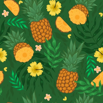 Seamless pattern with pineapples, flowers and leaves. vector graphics.