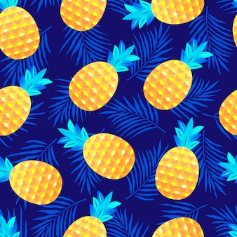 Seamless pattern with pineapples and leaves