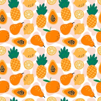 Seamless pattern with pineapples, lemons, papayas, pears and oranges on white background.