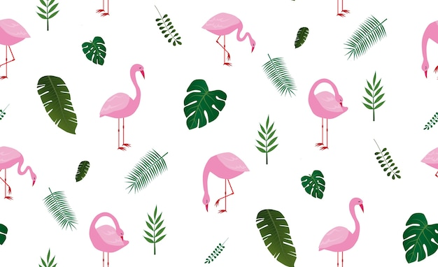 Seamless pattern with ping flamingo bind and tropical leaf