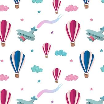 분홍색과 파란색 공기 풍선, 비행기, 별, 구름과 함께 완벽 한 패턴입니다. 손으로 그린 벡터 일러스트 레이 션. 월페이퍼, 어린이 섬유, 카드, 편지지, 포장에 대한 원활한 패턴입니다.