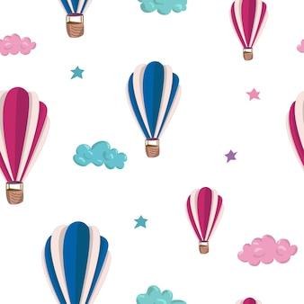 분홍색과 파란색 공기 풍선, 별, 구름과 함께 완벽 한 패턴입니다. 손으로 그린 벡터 일러스트 레이 션. 월페이퍼, 어린이 섬유, 카드, 편지지, 포장에 대한 원활한 패턴입니다.