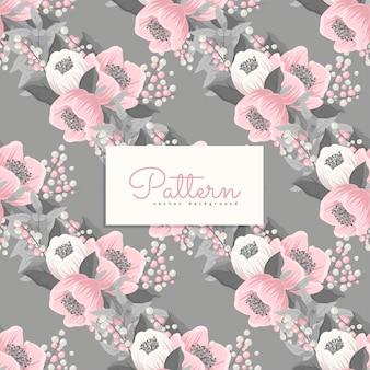 Бесшовный фон с розовыми и серыми цветами