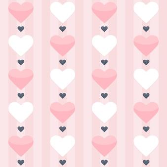 Бесшовный фон с розовыми и белыми сердцами на розовом. векторная иллюстрация
