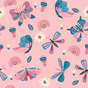 Seamless pattern with pink and blue butterflies and flowers